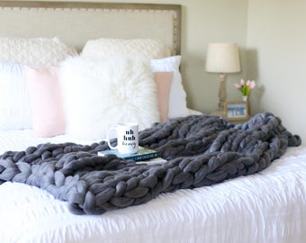 Chunky Knit. Merino Wool. Throw. Knit Blanket *The Dallas* FREE SHIPPING