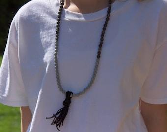 Dark Beaded Necklace with Black Tassel