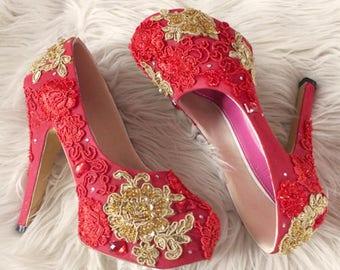 Slight brocade Wedding Platform Shoes Red Paint