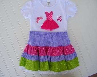 ballerina t- shirt and rainbow peasant skirt set for girls age 3