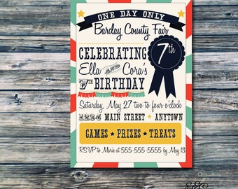 County Fair Birthday Party Invitation - Twin or Shared Party Option