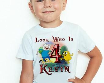 Adventure Time Birthday T-Shirt Custom Name Age Adventure Time Birthday Boy Personalized Shirt
