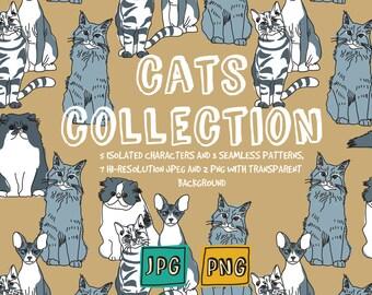 Cats digital set clip art, domestic animal printable art , instant download