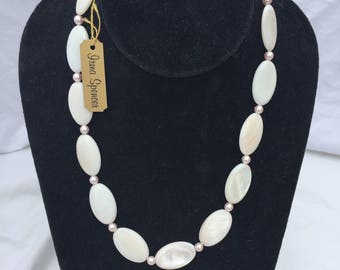 Pink Pearl and Shell Bead Necklace