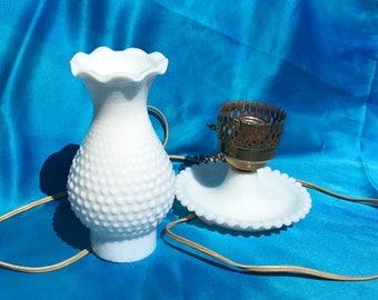 Vintage Milk Glass Chimney Electric Lamp