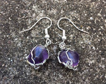 Amethyst - wire wrap earrings
