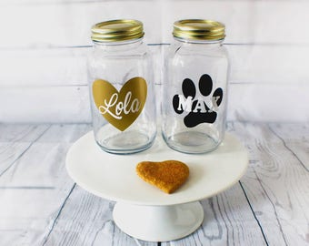 Personalized 32 oz Mason Jar For Dog Treats