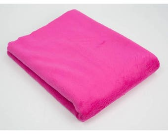 FUCHSIA PINK Minky Fabric, Plush Fabric by Fat Quater, Soft Minky Fabric, Baby Blanket Fabric, Pink Plush Fabric for Baby