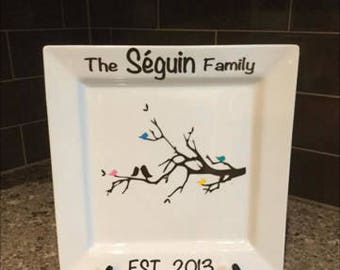 Family Tree Plate, Customized Name Plate, Family Platter, Family Gift, Square Glass Plate