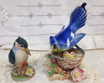 Kingfisher and Blue Jay Figurines