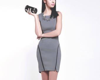Modern round neck curved hem slim fitted, Bodycon Dress - Grey