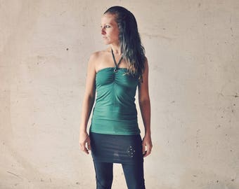 EMERALD ~ Bandeau, Halter Neck, Cut-Out Top with Brass Eyelets ~ dark green, forest green