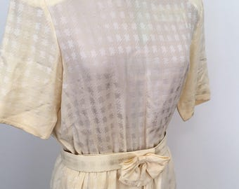 Vintage 1980s French silk yellow gold tea dress with matching belt.