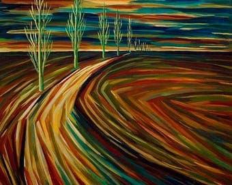 "Original Oil Painting, Canvas Art, Collectibles Art, Luxury Painting, Painting on Canvas ""Road to Kyiv"" 2007"