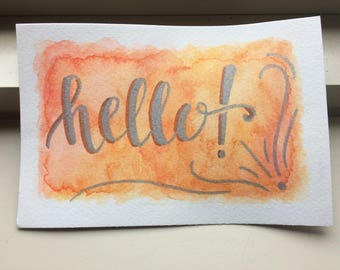 Hand lettered post card