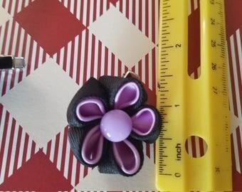 Kanzashi two color flower hair clip