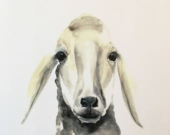 Sheepish original watercolor PRINT in cream and gray tones