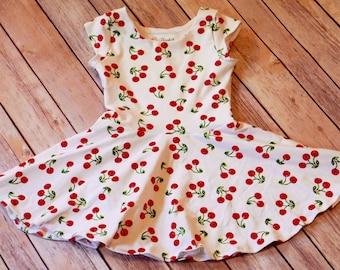 Cherry Dress. Toddler Dress. Little Girl Dress. Twirl Dress. Twirly Dress. Baby Dress. Baby Cherry Dress. Summer Baby Dress. Comfy Dress