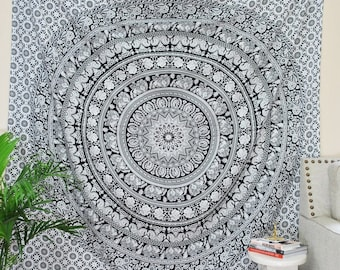 Twin Black and White Tapestry-Hippie Mandala Design