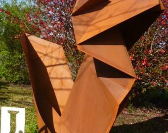 Sculpture metal squirrel origami