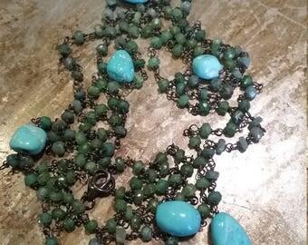 Rosario immagliato in silver and semiprecious stones