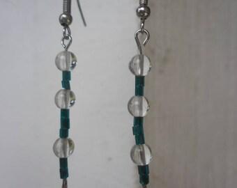 Handmade Vintage Clear & Blue/Green Glass Beaded Earrings