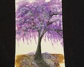 Purple Jacaranda Tree original post card painting.