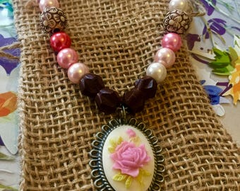 homemade beaded rose adjustable necklace