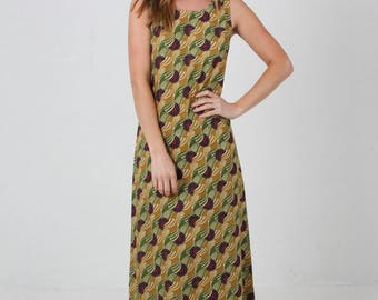 Jaba Naomi Maxi Dress in Vintage Wave Print in Green