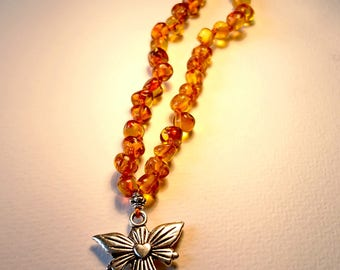 Natural Baltic Amber Children Necklace with Angel Guardian