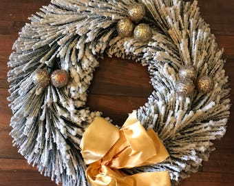 Vintage Flocked Christmas Wreath