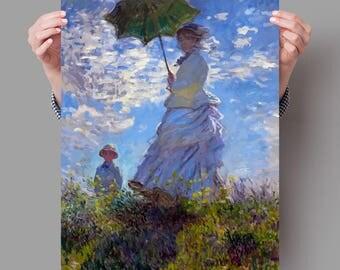 Poster 70x50 cm Woman with a Parasol - Claude Monet Digital