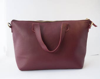 Leather Cross-body Tote Bag in Red