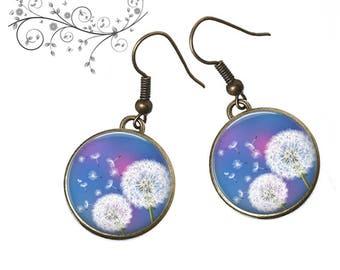 Dandelion cabochon earrings, blue, Garden, spring
