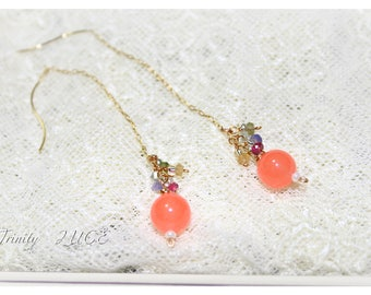 Pink Orange jade mixed tourmaline tanzanite earrings
