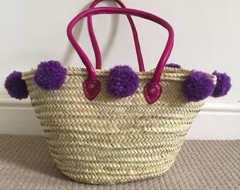 Purple Pom Pom Moroccan Market Basket