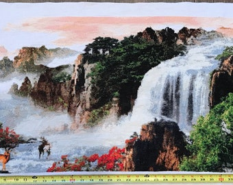Completed Large Cross Stitch Mountain Scene