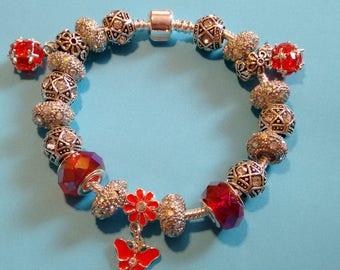 Pandora Style Silver Plated European Charm Bracelet