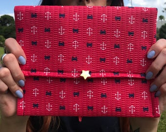 Red, white and blue clutch