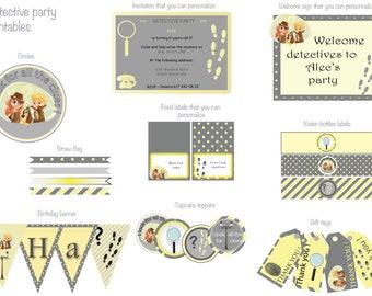 Printable detective party kit