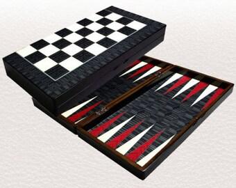 """Backgammon set travel foldable family board game set, black & white design Yenigun 19"""""""