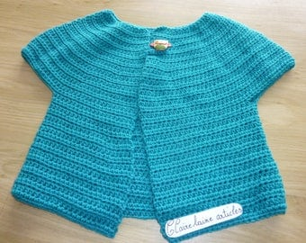 crochet blue child vest