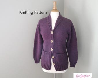 Shawl Collar Cardigan Sweater Knitting Pattern, Worsted Yarn, Women's XS S M L XL XXL, Button Up Long Sleeves Ribbing