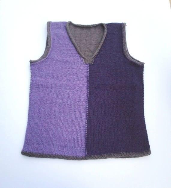 Basket Weave Vest Pattern : Womens vest knitting pattern easy v neck xxs