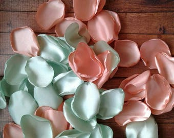 Mint rose petals, mint wedding, peach wedding, peach rose petals, wedding decor, aisle runner petals, wedding petals, flower girl baskets.