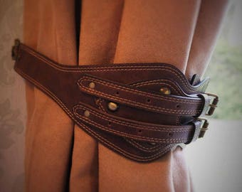 HAND CRAFTED VINTAGE leather belt curtain tie backs - hold backs