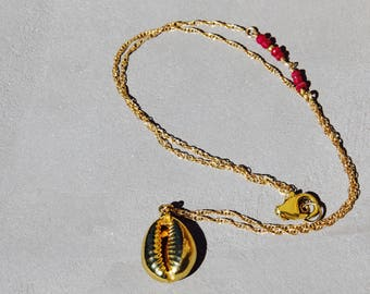 Necklace style ethnic Shell Shell, collection HOWI Ruby and gold filled