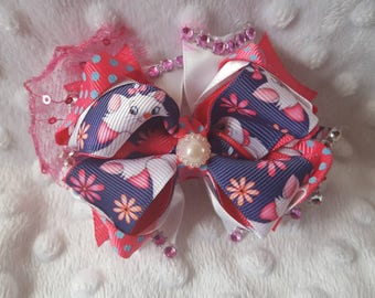 Medium size white cat, blue and pink boutique bow