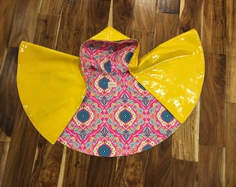 Hooded Rain Poncho- Yellow/Pink Floral