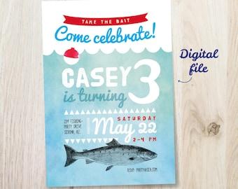 Fishing Birthday Invitation - 5x7 invite - printable digital file